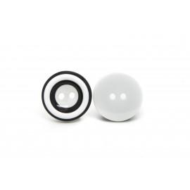 Bouton blanc rayé noir