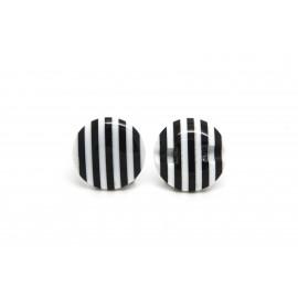 Bouton rayé blanc et noir
