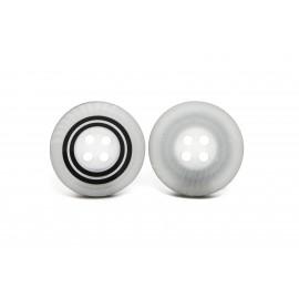 Bouton rayé gris et noir